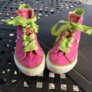 Converse youth 2 hot pink lime green laces & trim